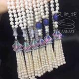 毛衣链水钻白珍珠